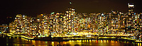 """City of Vancouver Skyline and Downtown at Yaletown and """"False Creek"""", BC, British Columbia, Canada, at Night - Panoramic View"""