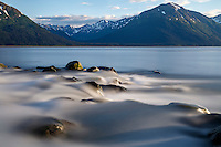 Summer landscape of creek flowing into Turnagain Arm with Kenai Mountains in background   Summer  Southcentral, Alaska 2016<br /> <br /> Photo by Jeff Schultz/SchultzPhoto.com  (C) 2016  ALL RIGHTS RESVERVED