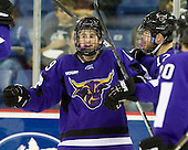 Zach Lehrke (Mankato - 19) and Rylan Galiardi (Mankato - 12) celebrate Lehrke's goal which tied the game at 1 1:42 into the second period. - The visiting Minnesota State University-Mankato Mavericks defeated the University of Massachusetts-Lowell River Hawks 3-2 on Saturday, November 27, 2010, at Tsongas Arena in Lowell, Massachusetts.