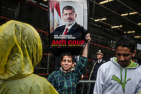 New York City, NY, 25 September 2014.  Protest against the Egyptian president Mohamed Morsi during the 69th United Nations General Assembly at United Nations Headquarters.  Photo by Joana Toro VIEWpress.