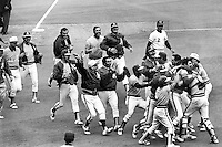 Closer Rollie Fingers in mobbed by his teammates following the last out of the 1972 World Series. The <br />
