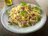 Tagliatelli with a carbonara sauce