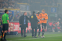 VOETBAL: HEERENVEEN: Abe Lenstra Stadion, SC Heerenveen - Ajax, 11-01-2012, Eindstand 0-5, teammanager Herman van Dijk, SC Heerenveen keeper Bo Kristoffer Nordfeldt (#26) vervangt Brian Vandenbussche (#25) en maakt z'n debuut in t eerste elftal , ©foto Martin de Jong