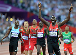 Lekuta David Rudisha of Kenya celebrates winning the Gold Medal in the Men's 800m Final and also breaks the world record with a time of 1:40:91<br /> <br /> 2012 London Olympics Day 13 - Thursday 10th August 2012 - Athletics - Olympic Stadium - Olympic Park - London<br /> <br /> &copy; CameraSport - 43 Linden Ave. Countesthorpe. Leicester. England. LE8 5PG - Tel: +44 (0) 116 277 4147 - admin@camerasport.com - www.camerasport.com