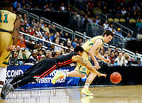 PITTSBURGH, PA - MARCH 19:  Steve Vasturia #32 of the Notre Dame Fighting Irish and T.J. Williams #10 of the Northeastern Huskies vie for posession in the second half during the second round of the 2015 NCAA Men's Basketball Tournament at Consol Energy Center on March 19, 2015 in Pittsburgh, Pennsylvania.  (Photo by Jared Wickerham/Getty Images)