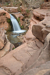 Grand Canyon National Park, AZ.A waterfall on Deer Creek spills over cliffs made of Tapeats sandstone at the head of the Deer Creek Narrows