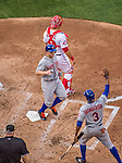 6 April 2015: New York Mets third baseman David Wright crosses the plate along with Curtis Granderson to take the lead 2-1 in the 6th inning of the Season Opening Game against the Washington Nationals at Nationals Park in Washington, DC. The Mets rallied to defeat the Nationals 3-1 in their first meeting of the 2015 MLB season. Mandatory Credit: Ed Wolfstein Photo *** RAW (NEF) Image File Available ***