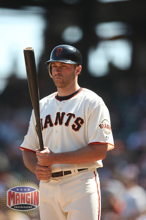 SAN FRANCISCO - SEPTEMBER 7:  Nate Schierholtz of the San Francisco Giants bats during the game against the Pittsburgh Pirates at AT&T Park in San Francisco, California on September 7, 2008.  The Giants defeated the Pirates 11-6.  Photo by Brad Mangin