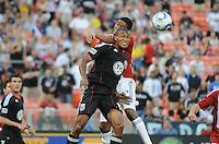 DC United defender Jordan Graye (16) goes up to head the ball.  DC United defeated Chivas USA 3-2 at RFK Stadium, Saturday  May 29, 2010.