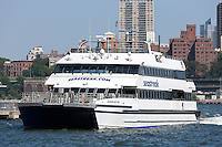 The Seastreak ferry arrives at Pier 11 at Wall Street and South Street in Manhattan from Highlands, New Jersey