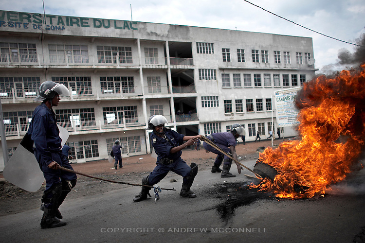 Riot police on the streets of Goma after student protests over fees, one student died during the unrest Goma University, DRC, on Wednesday, March. 3, 2008..