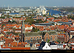 Heilig-Hartkerk Sacred Heart Church and Docks, North View from atop the Belfort Bell Tower, Bruges, Brugge, Belgium