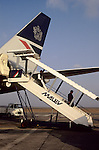Budapest, Hungary; Ferihegy Airport; a British Airways plane with Malev steps.