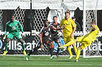 Josh Williams (3) of the Columbus Crew kicks a shot on goal. The Columbus Crew defeated D.C. United 2-1 ,at RFK Stadium, Saturday March 23,2013.