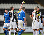 St Mirren v St Johnstone...19.10.13      SPFL<br /> Frazer Wright is booked in the first half<br /> Picture by Graeme Hart.<br /> Copyright Perthshire Picture Agency<br /> Tel: 01738 623350  Mobile: 07990 594431