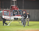 Mississippi State head coach Dan Mullen flies in on a helicopter to watch recruit Jeremy Liggins play at Lafayette High vs. Leake Central in playoff high school football action in Oxford, Miss. on Friday, November 4, 2011. Lafayette won 46-7.