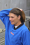 Mia Hamm at SAS Stadium in Cary, North Carolina on 4/5/03 before a game between the Carolina Courage and Washington Freedom. The Washington Freedom won the game 2-1.