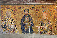 Detail of Deesis mosaic, 12th-13th century, showing Emperor JohnII Komnenos, Virgin Mary, Jesus Christ, and Empress Irene, Hagia Sophia, 532-37, by Isidore of Miletus and Anthemius of Tralles, Istanbul, Turkey. Hagia Sophia, The Church of the Holy Wisdom, has been a  Byzantine church and an Ottoman mosque and is now a museum. The current building, the third on the site, commissioned by Emperor Justinian I, is a very fine example of Byzantine architecture. The historical areas of the city were declared a UNESCO World Heritage Site in 1985. Picture by Manuel Cohen.