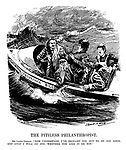"""The Pitiless Philanthropist. Mr. Lloyd-George. """" Now understand, I've brought you out to do you good, and GOOD I WILL DO YOU, whether you like it or not."""" (Lloyd George captains the National Insurance Bill motor boat with members of the middle and working classes on board in rough seas)"""