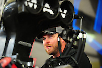 May 5, 2012; Commerce, GA, USA: NHRA crew member for top fuel dragster driver Brandon Bernstein during qualifying for the Southern Nationals at Atlanta Dragway. Mandatory Credit: Mark J. Rebilas-