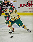 17 December 2013:  University of Vermont Catamount Defenseman Rob Hamilton, a Freshman from Calgary, Alberta, in third period action against the Northeastern University Huskies at Gutterson Fieldhouse in Burlington, Vermont. The Huskies shut out the Catamounts 3-0 to end UVM's 5 game winning streak. Mandatory Credit: Ed Wolfstein Photo *** RAW (NEF) Image File Available ***