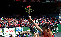 Portland, OR - Saturday April 15, 2017:  Christine Sinclair holds up roses after a regular season National Women's Soccer League (NWSL) match between the Portland Thorns FC and the Orlando Pride at Providence Park.