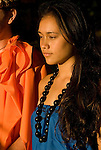 Hawaii: Molokai, young woman at protocol spiritual ceremonies at Kaupoa Beach..Photo himolo209-71972..Photo copyright Lee Foster, www.fostertravel.com, lee@fostertravel.com, 510-549-2202