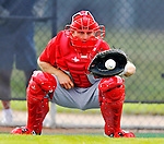 24 February 2012: Washington Nationals' catcher Jeff Howell warms up at the Carl Barger Baseball Complex in Viera, Florida. Mandatory Credit: Ed Wolfstein Photo