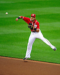 6 June 2010: Washington Nationals' shortstop Ian Desmond in action against the Cincinnati Reds at Nationals Park in Washington, DC. The Reds edged out the Nationals 5-4 in a ten inning game. Mandatory Credit: Ed Wolfstein Photo