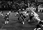 Bethel Park PA:  Offensive play with Mike Stewart 11 trying to complete a pass to Bruce Evanovich 80. Others in the photo; Jim Dingeldine 73, Don Troup 51, Dennis Franks 66, Joe Barrett 75, Clark Miller 30, Mike Fassinger 83.   The Bethel Park defense played very well in the 13-6 win at Chartiers Valley Stadium. The game went down to the last play of the game when Mike Stewart threw a 65 TD pass to Gary Biro 81.  The defensive unit was one of the best in Bethel Park history only allowing a little over 7 points a game.