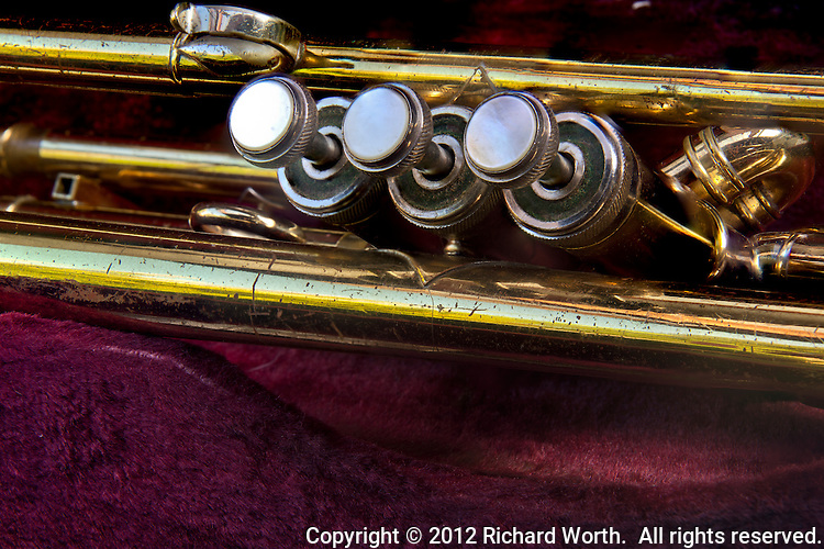 Blessing trumpet - valves close-up.