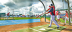 22 February 2013: Washington Nationals' second baseman Danny Espinosa takes batting practice during a full squad Spring Training workout at Space Coast Stadium in Viera, Florida. Mandatory Credit: Ed Wolfstein Photo *** RAW File Available ***
