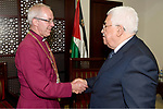 Palestinian President Mahmoud Abbas meets with Archbishop of Canterbury, Justin Welby, in the West Bank city of Ramallah, on May 8, 2017. Photo by Osama Falah