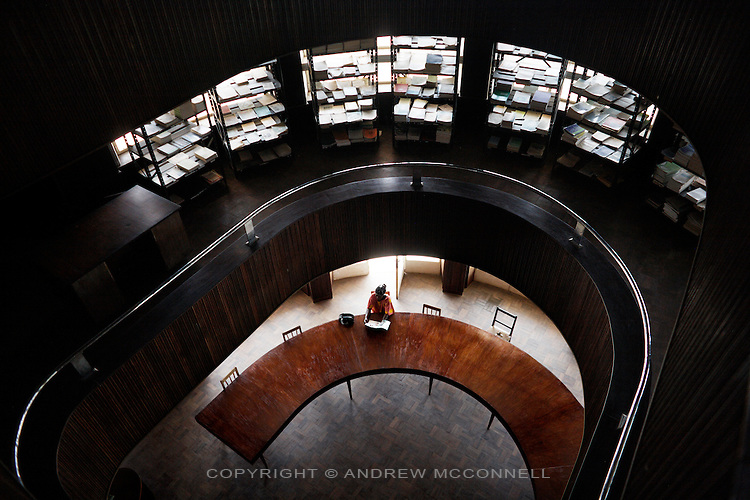 The interior of Yangambi Library, pictured in Yangambi, DR Congo, on Tuesday, Dec. 9, 2008. The library contains a large collection of old scientific books, papers and all the annual reports for Yangambi. It has been keep intact by a small skeleton crew who spend lost of their days drying out damp books.