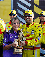 Sep 25, 2016; Madison, IL, USA; NHRA top fuel driver Shawn Langdon (right) celebrates with Terry Chandler after winning the Midwest Nationals at Gateway Motorsports Park. Mandatory Credit: Mark J. Rebilas-USA TODAY Sports