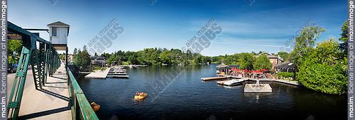 Muskoka River, town of Huntsville panoramic summertime scenery. Huntsville, Ontario, Canada 2016