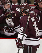 Tylor Spink (Colgate - 18) - The Harvard University Crimson defeated the Colgate University Raiders 4-1 (EN) on Friday, February 15, 2013, at the Bright Hockey Center in Cambridge, Massachusetts.