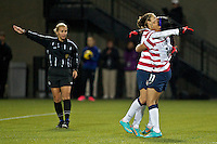 Sydney Leroux celebrates her first goal. USWNT played played a friendly against Ireland at JELD-WEN Field in Portland, Oregon on November 28, 2012.