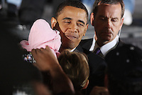 Democratic presidential candidate Barack Obama greets fans during a rally held on the night of the Texas primary election, March 4, 2008, in front of the Municipal Auditorium building in San Antonio, Texas. (Darren Abate/PressPhotoIntl.com)