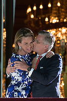 King Philippe Of Belgium and Queen Mathilde greet the people before the fireworks - Belgium