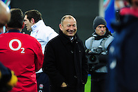 England Rugby Head Coach Eddie Jones is all smiles after the match. RBS Six Nations match between France and England on March 19, 2016 at the Stade de France in Paris, France. Photo by: Patrick Khachfe / Onside Images