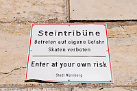 Warning sign on Zeppelinhaupttribuene at Zepplin field at the old nazi party rally grounds, Nuernberg, Germany