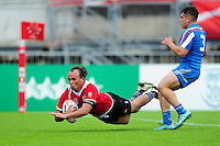 Daniel Bock of Namibia dives for the try-line. FISU World University Championship Rugby Sevens Men's 5th/6th place match between Namibia and Italy on July 9, 2016 at the Swansea University International Sports Village in Swansea, Wales. Photo by: Patrick Khachfe / Onside Images