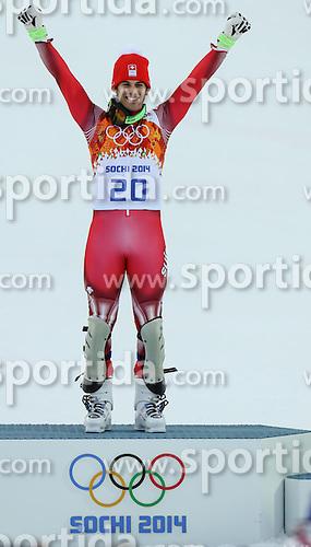 14.02.2014, Rosa Khutor Alpine Center, Krasnaya Polyana, RUS, Sochi, 2014, Super- Kombination, Herren, Flower Ceremonie, im Bild Olympia Sieger Sandro Viletta (SUI) // Olympic Champion Sandro Viletta of Switzerland during the Flower Ceremony of the mens Super Combined of the Olympic Winter Games 'Sochi 2014' at the Rosa Khutor Alpine Center, Krasnaya Polyana, Russia on 2014/02/14. EXPA Pictures &copy; 2014, PhotoCredit: EXPA/ Minkoff<br /> <br /> *****ATTENTION - OUT of GER*****