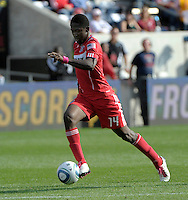 Chicago Fire forward Patrick Nyarko (14) speeds down the field.  The Chicago Fire tied DC United 0-0 at Toyota Park in Bridgeview, IL on Oct. 16, 2010.