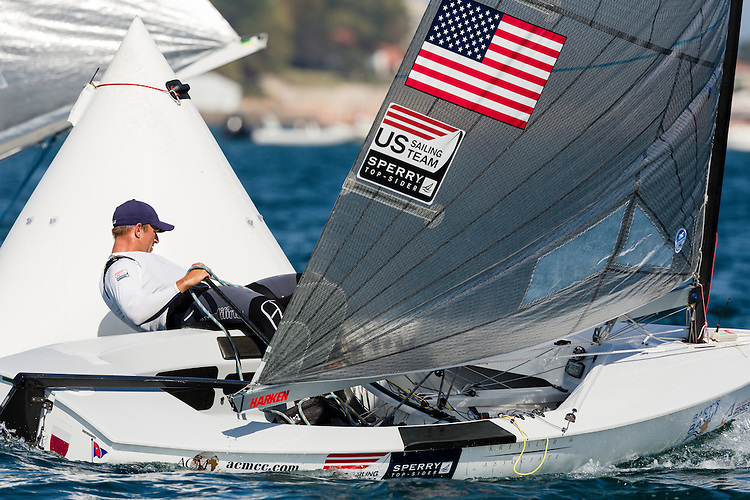 SANTANDER, SPAIN - SEPTEMBER 21:  Finn - USA6 - Caleb Paine in action during the Medal Race on Day 10 of the 2014 ISAF Sailing World Championships on September 21, 2014 in Santander, Spain.  (Photo by MickAnderson/SAILINGPIX via Getty Images)