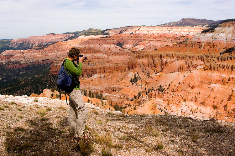Man making a photo at Cedar Breaks National Monument, Utah, UT, view, vista from Point Supreme, nature, landscape, erosion, model released, Image ut304-18856, Photo copyright: Lee Foster, www.fostertravel.com, lee@fostertravel.com, 510-549-2202
