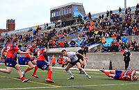 TORONTO, ON - MAY 06:  Greg Worthington #3 of Toronto Wolfpack looks for the try line during the second half of a Kingstone Press League 1 match at Lamport Stadium on May 6, 2017 in Toronto, Canada.  (Photo by Vaughn Ridley/SWpix.com)