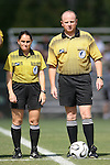 07 October 2007: Fourth Official Sandra Serafini (l) and Referee Bill Terry (r). The Duke University Blue Devils defeated the North Carolina State University Wolfpack 1-0 at Method Road Soccer Stadium in Raleigh, North Carolina in an Atlantic Coast Conference NCAA Division I Women's Soccer game.
