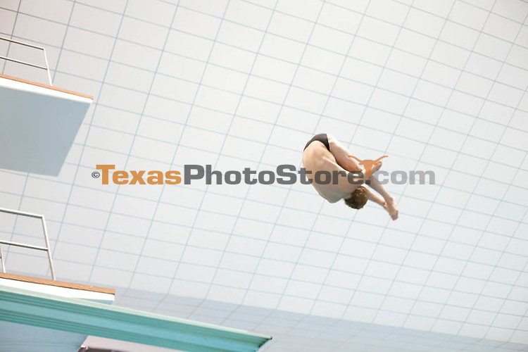 Will McCraney competes on the 3-meter dive...UT Men's Swimming Orange v White Meet